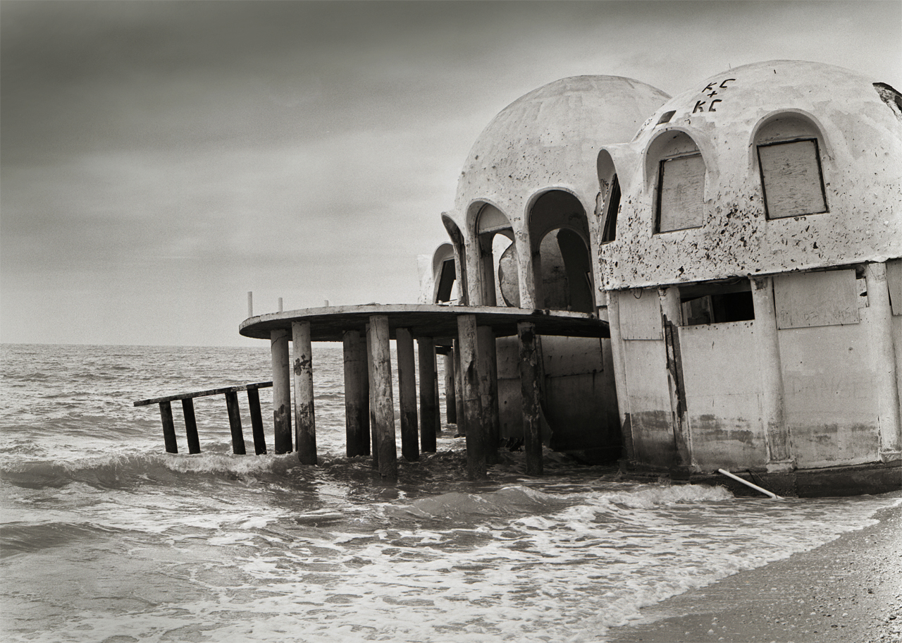 Dome house of the Cape Romano coast in Florida is reclaimed by rising oceans and strong hurricanes.